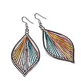 Bohemian Droplets Color Dangle Ear Drops Dangle Tassels Feather Long Drop Earrings Big Circle Hoop Clip