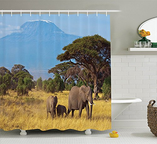 Safari Decor Collection Photo of an Elephant Family in front of Kilimanjaro Mounts African Savannahs Wild Nature Scene Polyester Fabric Bathroom Shower Curtain