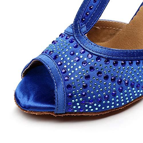 De Baile Interior Zapatos Tacon Alto 5cm Blue7 7 Pescado Tobillo 5cm Boca Pedreria Jryyue Hebilla Mujer Latino strap T YqwXxqB