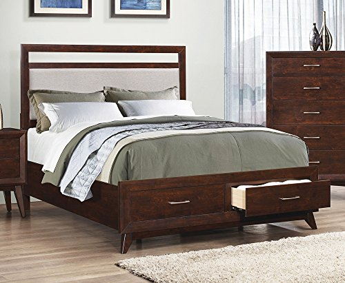 Coaster Carrington Collection 205041Q Queen Size Bed with 2 English Dovetail Drawers Light Grey Fabric Headboard Upholstery Asian and Tropical Hardwood and Paper Veneer Construction in (Queen Veneer)