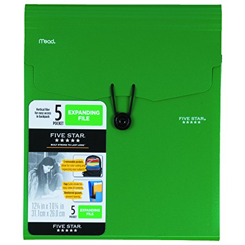 Five Star 5-Pocket Expanding Vertical File, 12.25 x 10.25 Inches, Green (72695)