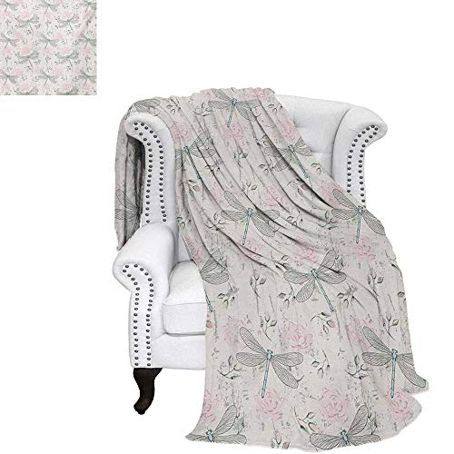(warmfamily Dragonfly Summer Quilt Comforter Shabby Chic Roses Worn Old Vintage Backdrop with Moth Bugs Print Digital Printing Blanket 60