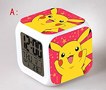 Amazon.com : Anime Cartoon Pokemon Action Figure Pikachu Ash Ketchum Digital Alarm Clock Saat Reloj Despertador Collection Model Toys Dolls : Baby