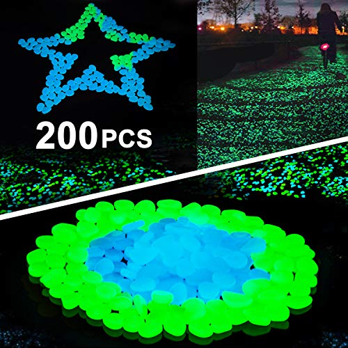 (Sunnset Glow in The Dark Garden Pebbles,200 Pcs Glow Decorative Stones Rocks,Luminous Pebbles for Outdoor Decor, Garden Lawn Yard, Aquarium, Walkway, Fish Tank, Pathway, Driveway)