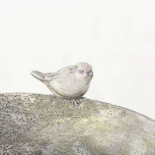 CasaJame Complementi Arredo Giardino Decorazione Accessori Fontana-Abbeveratoio per Uccelli Selvatici con Elfo Fatato Seduto Resina Sintetica 29x26x17cm