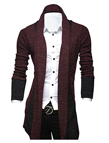 Tom's Ware Mens Classic Fashion Marled Open-Front Shawl Collar Cardigan TWGG1308-WINE-US XL