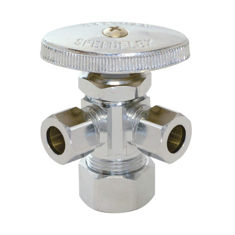 """Eastman 0437118 04353LF compression inlet multi turn dual outlet stop valve, 3/8"""" OD X 3/8"""" OD X 5/8"""" OD, Chrome"""