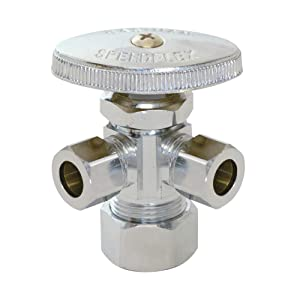 "Eastman 0437118 04353LF compression inlet multi turn dual outlet stop valve, 3/8"" OD X 3/8"" OD X 5/8"" OD, Chrome"