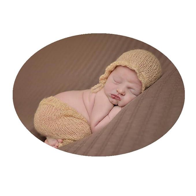 e6ae189995c Coberllus Newborn Baby Photo Props Outfits Crochet Mohair Hat Pants Set for  Boy Girls Photo Shoot