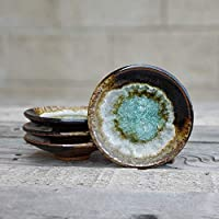 GEODE RING DISH: Individual Geode Ring Dish in BLACK AND COPPER Fused Glass Dish, Trinket Dish, Soap Dish, Crackle Glass, Candle Holder, Dock 6 Pottery, Kerry Brooks Pottery