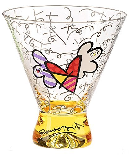 i Glass - Yellow Base, Graphic Pattern with Flying Hearts Design ()
