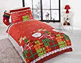Christmas Presents Kids Xmas Santa Claus Quilt Duvet Cover and Pillowcase Bedding Bed Set, Multi-Colour, Single