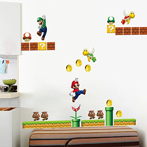 Dushang Super Mario Bro Wall Sticker Decals for Kids Room