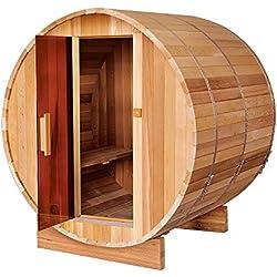 ALEKO SB6CEDAR Rustic Red Cedar Indoor Outdoor Wet Dry Barrel Sauna and Steam Room with Front Porch Canopy 6 kW ETL Certified Heater 6 Person 83 x 72 x 75 Inches