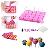 JUNXAVE BPA Free Lollipop Silicone Molds & Ball Shaped Mold,Cake Pop Mold, Muffin Cake Ice Cube Trays 120 Sticks Gumdrop Jelly Moulds- Pink