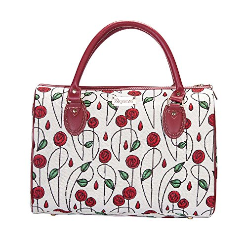 (Charles Rennie Mackintosh Rose and Nouveau Travel Bag/Floral Lightweight Weekender/Carry on Hand Luggage by Signare/TRAV-RMSP)