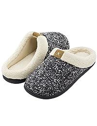 Men's Comfort Memory Foam Slippers Wool-Like Plush Fleece Lined House Shoes w/ Indoor/Outdoor Anti-Skid Rubber Sole