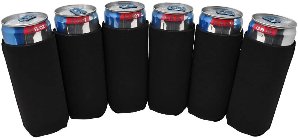 TahoeBay 12 Slim Can Sleeves - Blank Neoprene Beer Coolers – Compatible with 12oz RedBull, Michelob Ultra, White Claw Spiked Seltzer (Black, 12)