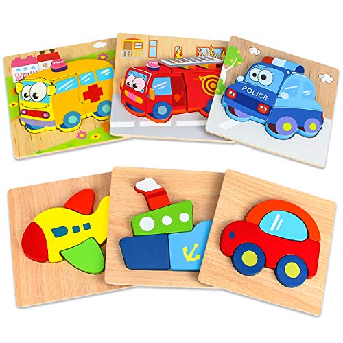 Dreampark Wooden Jigsaw Puzzles, [6 Pack] Vehicle Puzzles for Kids Toddlers 1 2 3 Years Old Educational Toys Gifts for Boys and Girls