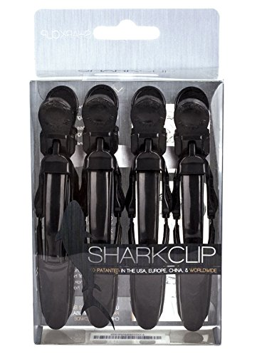 (The Hair Shop Shark Clip | Enhanced Croc Crocodile Alligator Grip Clip | Sectioning Tool for Women | US Patented | Professional Salon Quality (Black, 4 Pack))