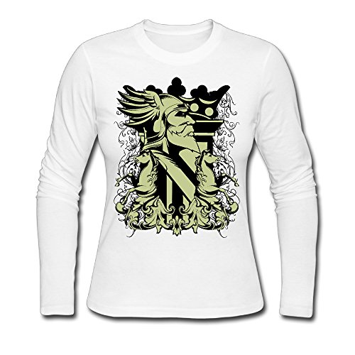 LCNANA Old Man And Two Horse Women's Spring And Autumn Cotton Long-Sleeved Shirt White M