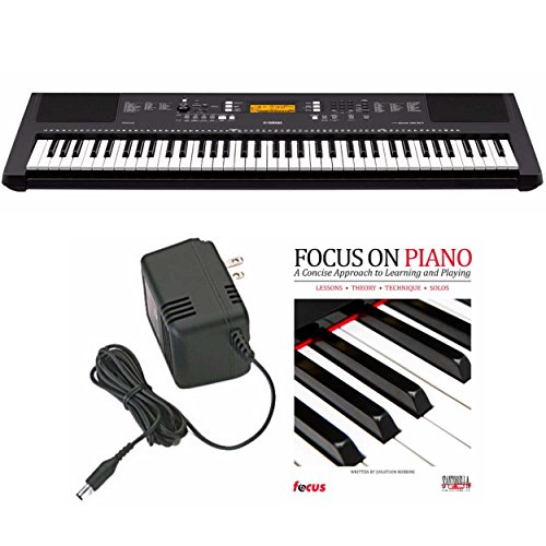 Yamaha PSREW300 76-Key Portable Keyboard with Power Adapter and Focus Piano Book
