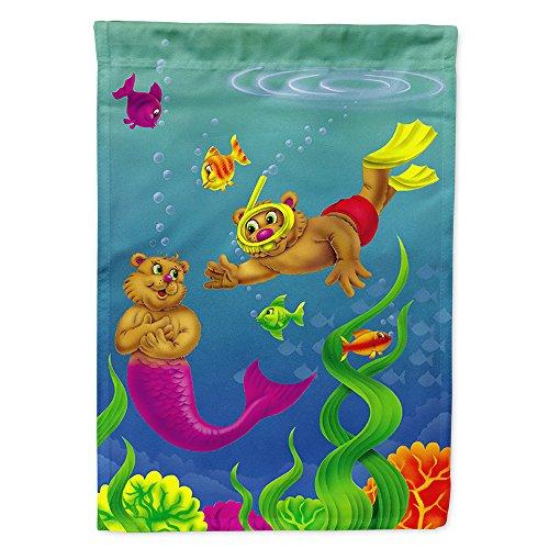 - Caroline's Treasures APH0414CHF Teddy Bear Mermaid and Diver Flag Canvas House, Large, Multicolor