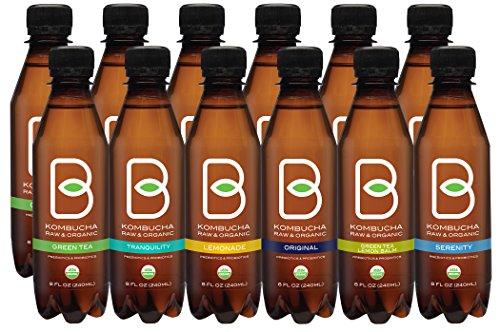 B-tea Kombucha Raw Organic Tea, Only 2 g of Sugar/Probiotics/Prebiotic, Promotes Healthy Weight Loss, Kosher, 12 Piece x 8 oz.