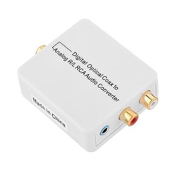 fosa Convertidor de audio digital óptico coaxial a Analog R/L RCA Audio Converter para