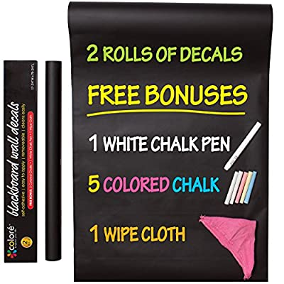 Colore Blackboard Wall Decals - Premium Vinyl Contact Paper For Restaurant Menu Chalkboard, Office, Wallpaper, Art Quotes, Home Kitchen Stickers - FREE Colored Chalks, Chalk Pen & Wipe Cloth - 2 Rolls