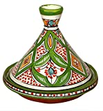 Moroccan Handmade Serving Tagine Exquisite Ceramic With Vivid colors Original Medium 10 inches Across