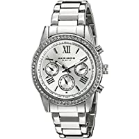 Akribos XXIV Women's AK872SS Round Silver Dial Crystal Accent Three Hand Quartz Bracelet Watch