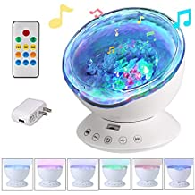 GRDE Ocean Wave Night Light Projector Sleep Sound Machine with Remote, Music Player, Timer, for Infant Baby Kids, Nursery Room Decor for Living Room and Bedroom (White)