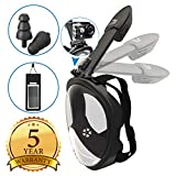 Full Face Snorkel Mask - Diving Set Foldable Tube Anti-Fog Anti-Leak Design - 180 ° Panoramic Viewing + Free Universal Waterproof Case Phone Earplugs - GoPro Adapter Men Women