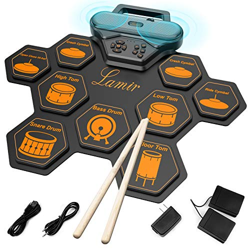 Electronic Drum Set for Kids 9 Drum Pads with Pedals Kit Roll Up Drum Set with Handle Built In Speaker MIDI Record Speed Control Function for Drum Beginner Drum Enthusiasts