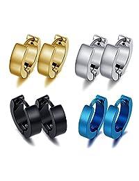 UM Jewelry Women's Men's Stainless Steel Huggie Small Hoop Earrings Set, Black, Silver, Blue,Gold