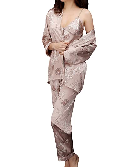 276c9b5f816bb Lovers Pyjamas Femme 3 Pièce Ensemble Pyjama Homme Robe Chambre Peignoir  Satin Femme Chameau M