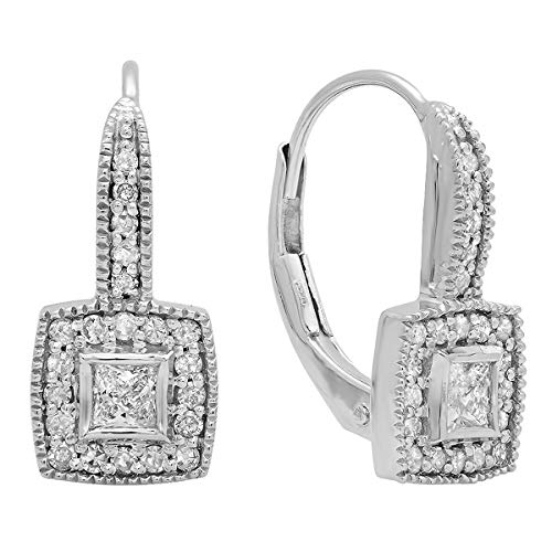 Dazzlingrock Collection 0.50 Carat (ctw) 14K Princess & Round Diamond Ladies Halo Style Drop Earrings 1/2 CT, White Gold