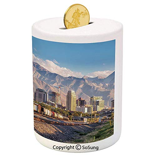 Landscape Ceramic Piggy Bank,Downtown Salt Lake City Skyline in Utah USA Railroads Mountains Buildings Urban 3D Printed Ceramic Coin Bank Money Box for Kids & Adults,Multicolor