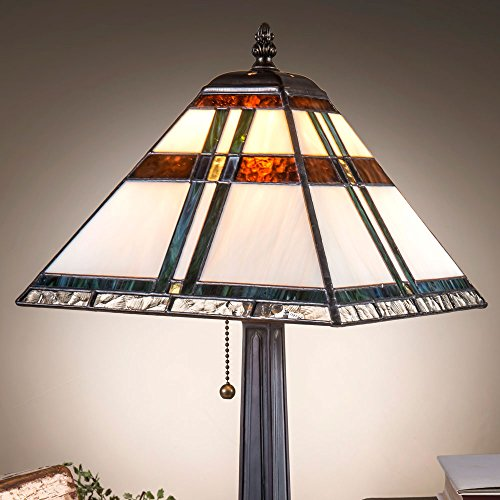 J Devlin Lam 690 TB Tiffany Stained Glass Mission Table Lamp With Blue, Green, Brown - Art Lamp Glass Table Brown