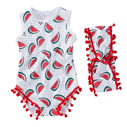 (Rakkiss Girls Romper Newborn Infant Girls Watermelon Bowknot Rompers Outfits Clothes White)