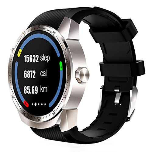 PINCHU K98H 3G Smart Watch Phone GPS Navigation Anti-lost Finder Smartwatch Heart Rate Sleep Monitoring Bluetooth Watches for Men, Silver