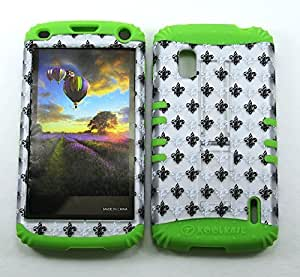 Cell-Attire Shockproof Hybrid Case For LG Nexus 4, E960 and Stylus Pen, Green Soft Rubber Skin with Hard Cover (Saints, Fleur-De-Lis, Gray) T-Mobile by Maris's Diary
