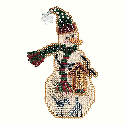 Birdhouse Snow Charmer Beaded Counted Cross Stitch Christmas Ornament Snowman Kit Mill Hill 2001 Snow Charmers MHSC25 ()