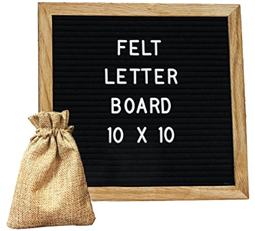 Felt Letter Board Black Felt 10x10 Inch Changeable Wooden Message Board Sign Oak Frame with 290 White Plastic Characters and Free Letter Bag, Wall Mounting Hook (Halloween Menu Ideas For Restaurants)
