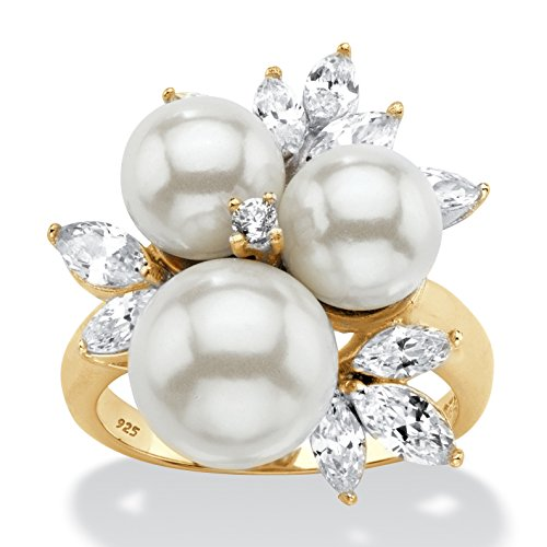 14K Yellow Gold over Sterling Silver Round Simulated Pearl and Cubic Zirconia Cluster Ring Size 8