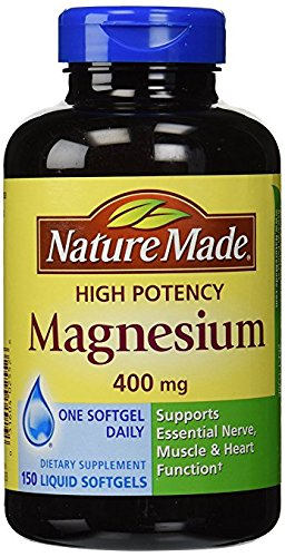 Nature Made High Potency Magnesium 400 mg - 150 Liquid Softgels,(Pack of ()