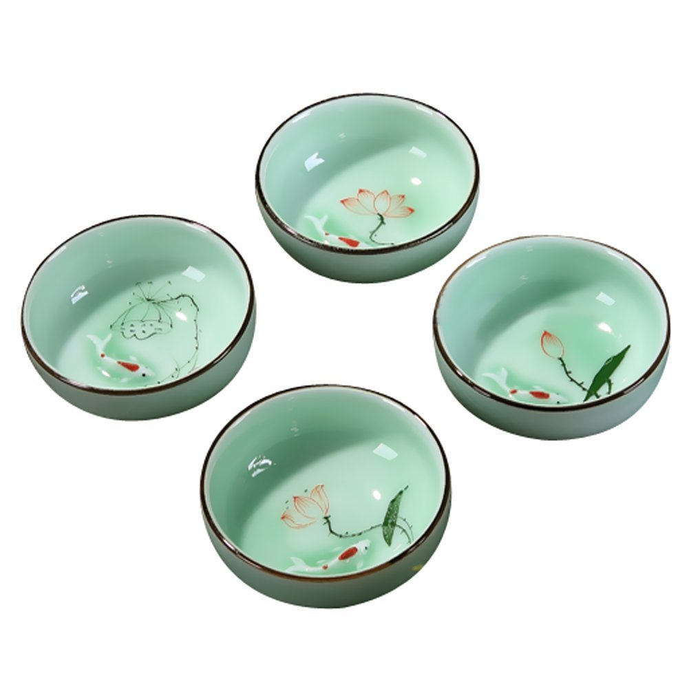 DELIFUR Porcelain Chinese Long-quan Celadon Teacup,kungfu Teacup, Fishes and Lotus Pattern,set of 4