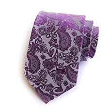 Group® New Purple Paisley Jacquard Woven Men's Tie Necktie