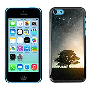 LASTONE PHONE CASE / Carcasa Funda Prima Delgada SLIM Casa Carcasa Funda Case Bandera Cover Armor Shell para Apple Iphone 5C / Nature Moonlight Star Tree